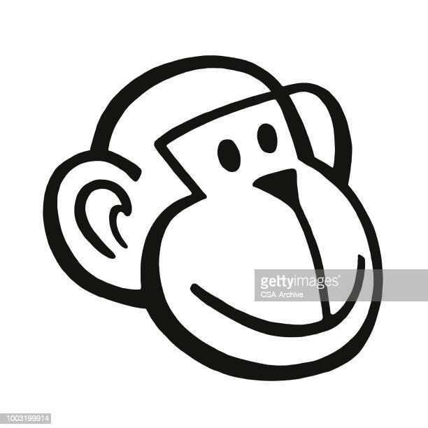 fels monkey face - chimpanzee stock-grafiken, -clipart, -cartoons und -symbole