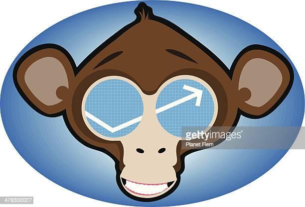 monkey graph - chimpanzee stock illustrations, clip art, cartoons, & icons