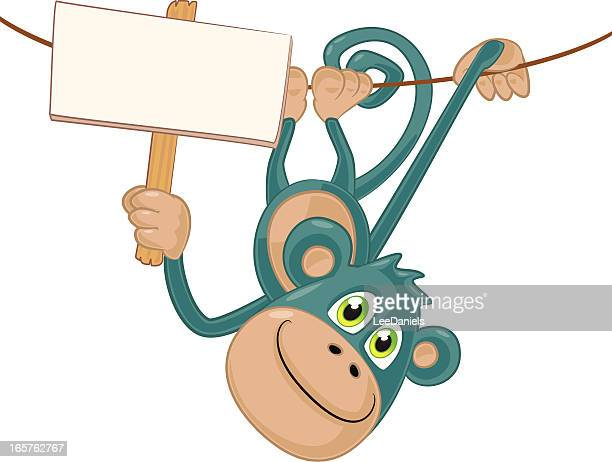 Monkey hanging upside down with a blank sign
