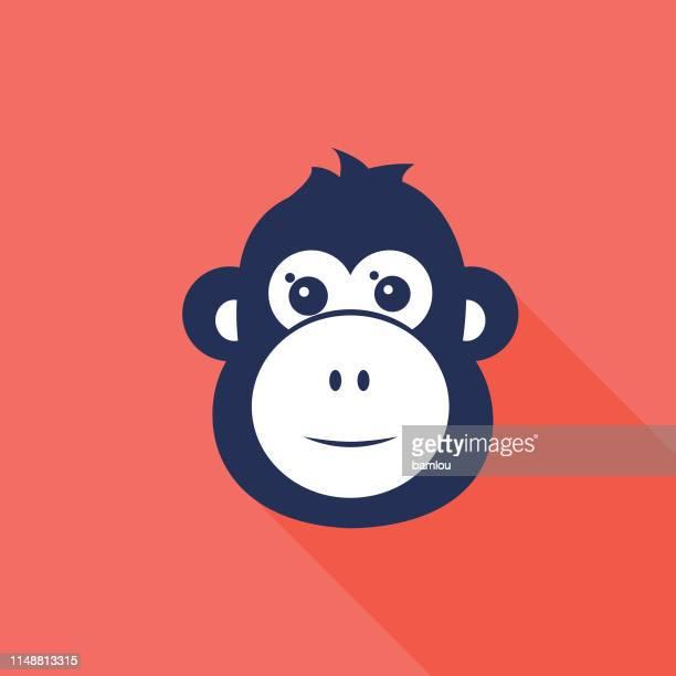 affenkopf icon navy und korallengrand - chimpanzee stock-grafiken, -clipart, -cartoons und -symbole