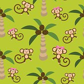 Monkey kid seamless vector pattern for textile print