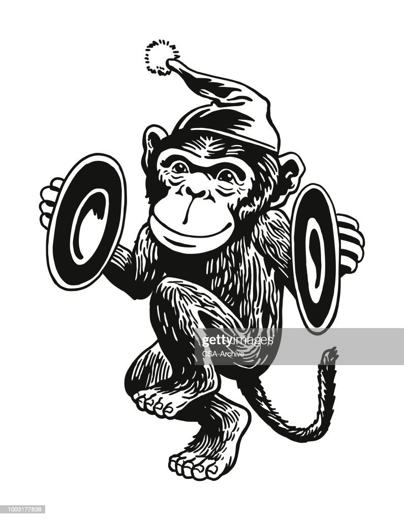 Monkey Playing Cymbals : stock illustration