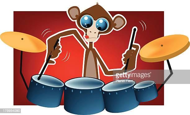 affe spielt trommeln - chimpanzee stock-grafiken, -clipart, -cartoons und -symbole