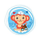 Monkey Sailor Baby Gift. Cute Picture For Kids T-Shirt Design.