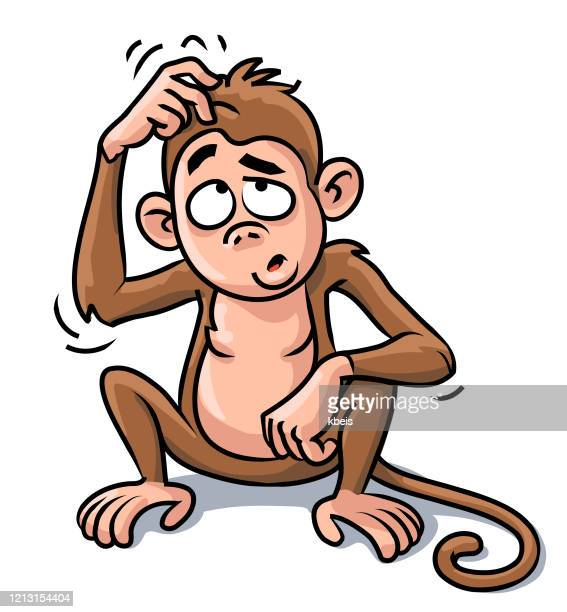 猿は頭を掻く - 掻く点のイラスト素材/クリップアート素材/マンガ素材/アイコン素材