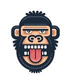 Monkey showing tongue illustration. Gorilla head logo