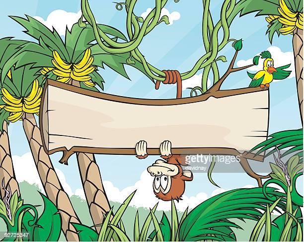monkey sign - banana tree stock illustrations