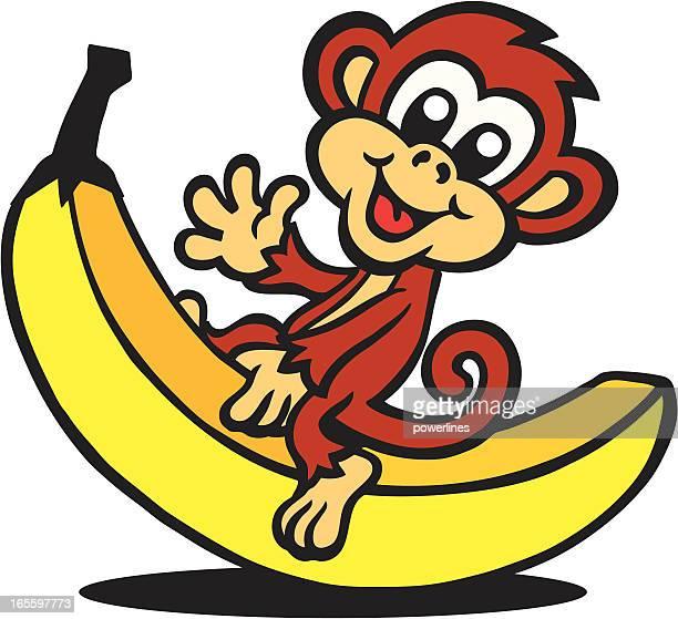 monkey sitting on banana - banana stock illustrations, clip art, cartoons, & icons