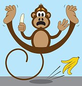 Monkey Slipping on Banana Peel