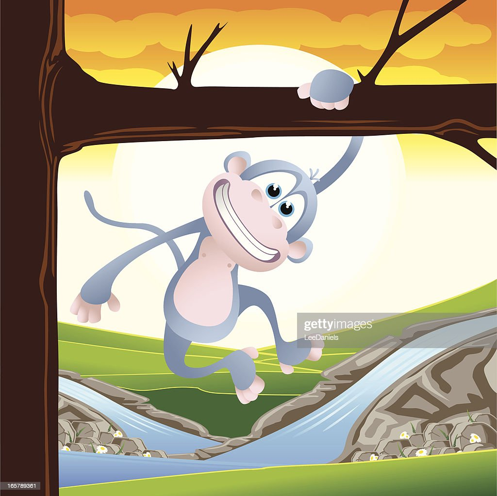 Monkey Swinging From A Tree Stock Illustration Getty Images