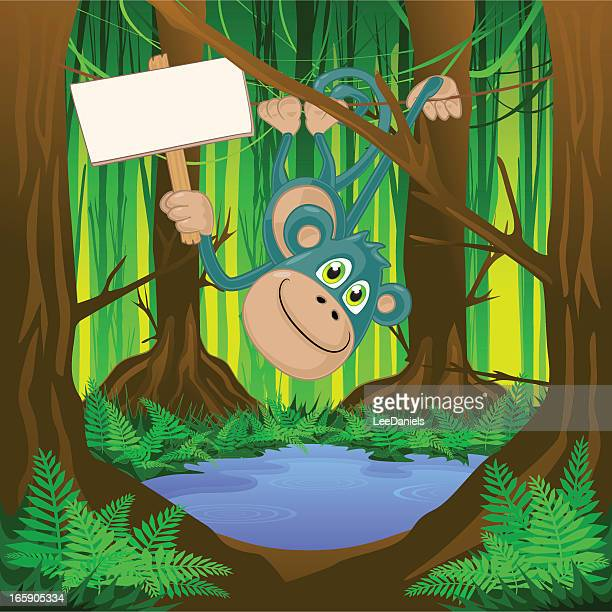Monkey swinging with a blank sign