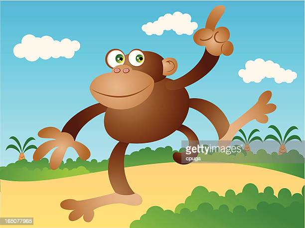 monkey winken - chimpanzee stock-grafiken, -clipart, -cartoons und -symbole