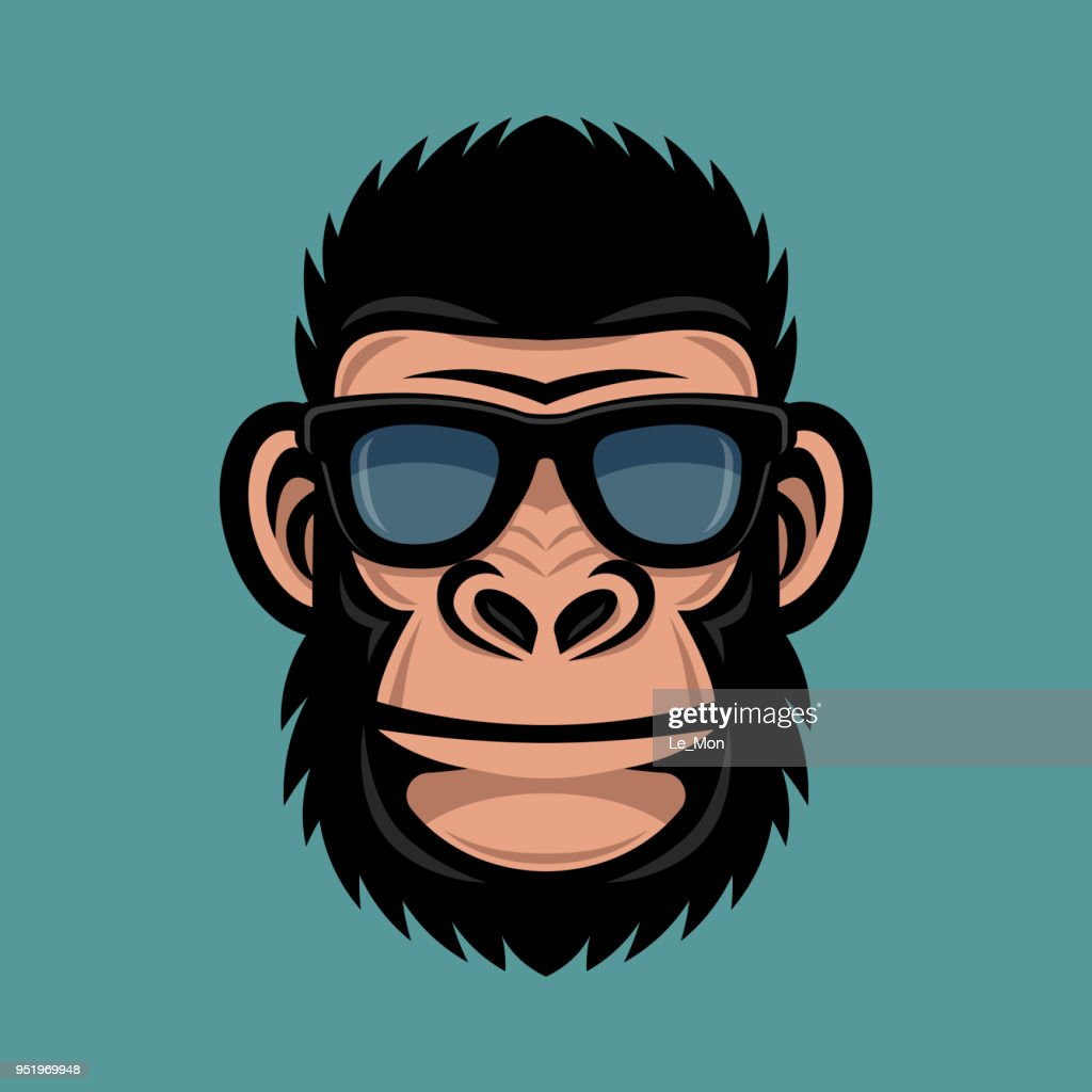 Monkey with sunglasses. Cool gorilla