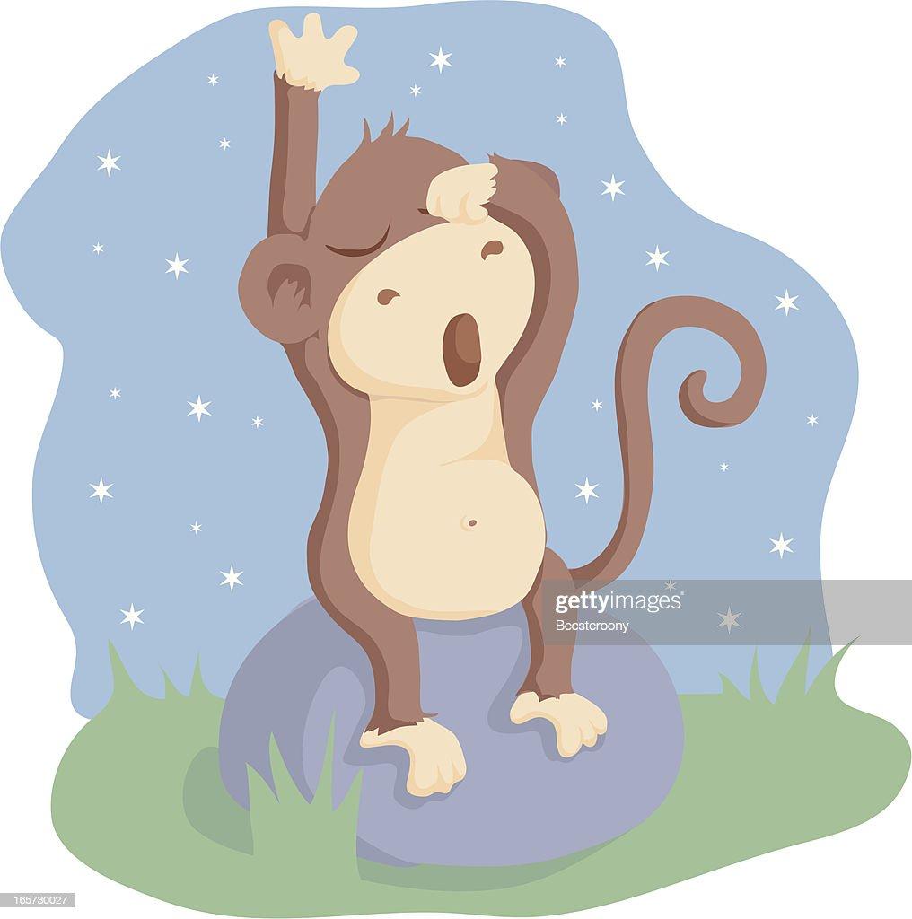 Monkey yawning : stock illustration