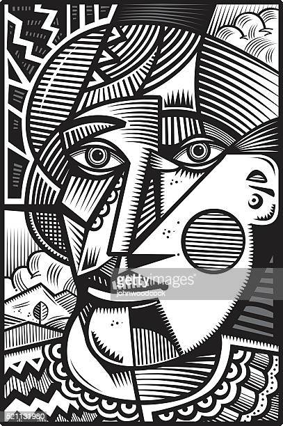 Mono cubist head illustration