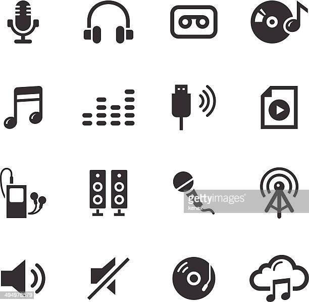 ilustraciones, imágenes clip art, dibujos animados e iconos de stock de conjunto de iconos de audio mono / - usb cable