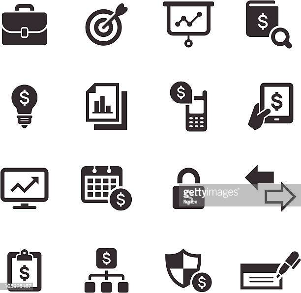 mono icons set | banking & finance - accounting ledger stock illustrations, clip art, cartoons, & icons