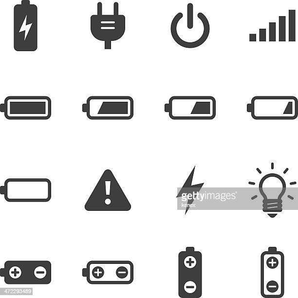 mono icons set | battery & power - start button stock illustrations, clip art, cartoons, & icons