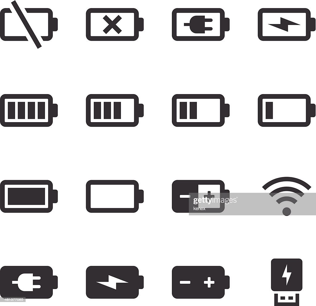 Mono Icons Set | Battery & Power : Stock Illustration