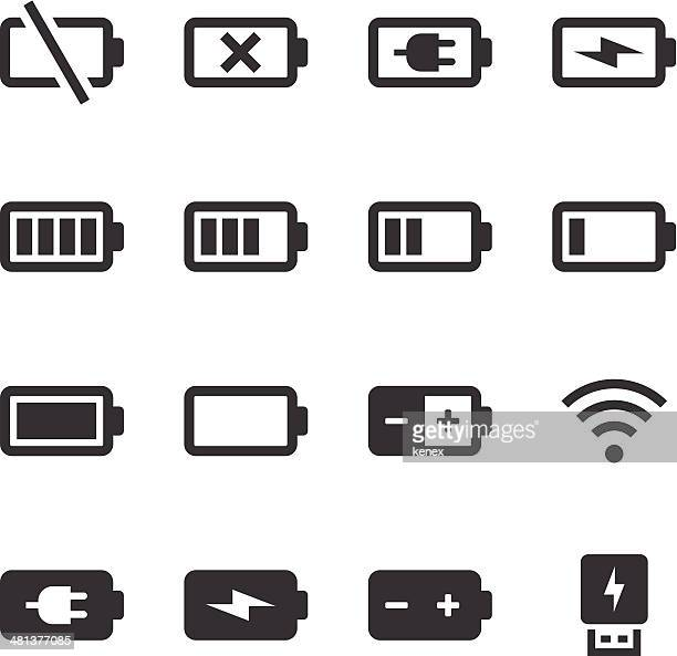 mono icons set | battery & power - electric plug stock illustrations