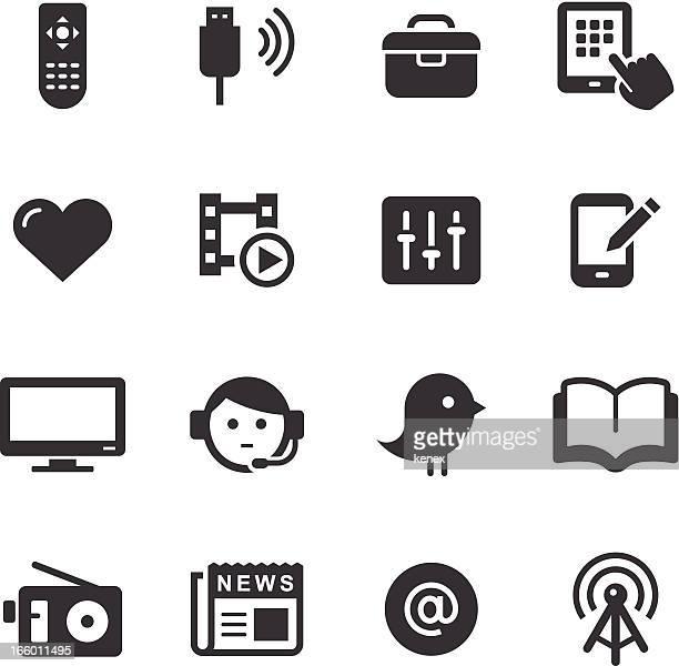 ilustraciones, imágenes clip art, dibujos animados e iconos de stock de mono conjunto de iconos de los medios / - usb cable