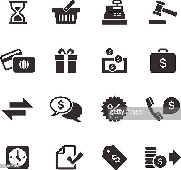 Mono icons set of banking and finance