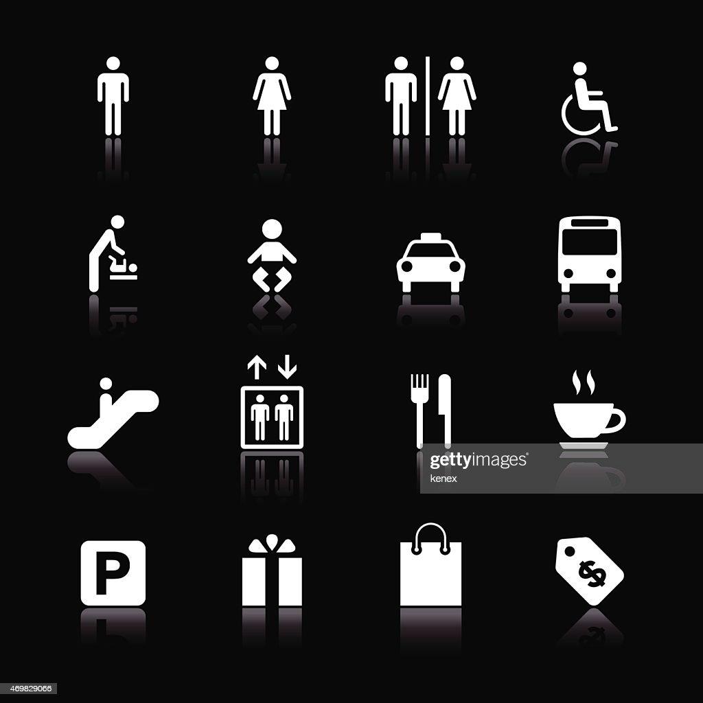 Mono Icons Set   Public & Shopping Mall