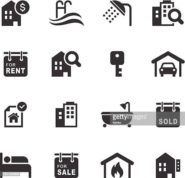 ilustraciones, imágenes clip art, dibujos animados e iconos de stock de mono conjunto de iconos de bienes raíces / - propietario de casa