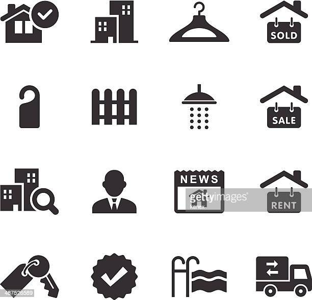 illustrations, cliparts, dessins animés et icônes de mono icônes ensemble immobilier - vendre