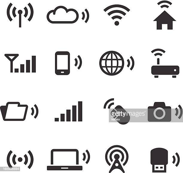 mono icons set | wireless technology - wireless technology stock illustrations