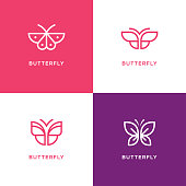 Mono line butterfly icon set.