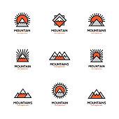 Mono line mountain icon set.