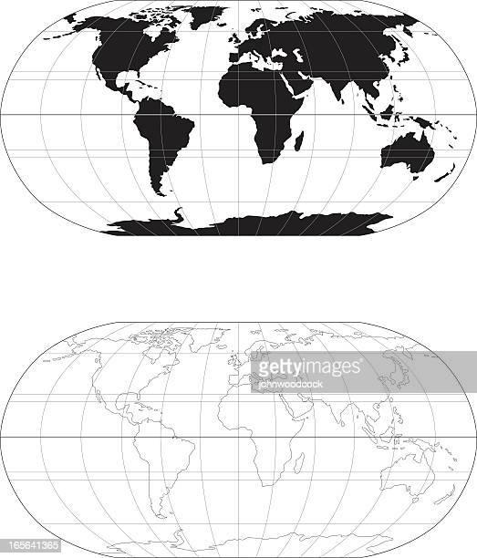 mono world map - latitude stock illustrations