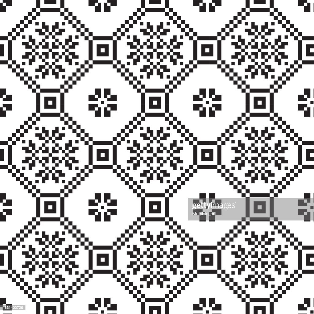 monochromatic ethnic seamless background. seamless textures in black and white colors