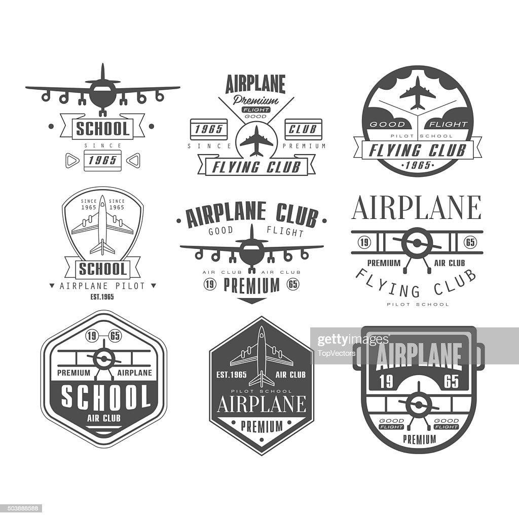 Monochrome Airplane Club Emblems