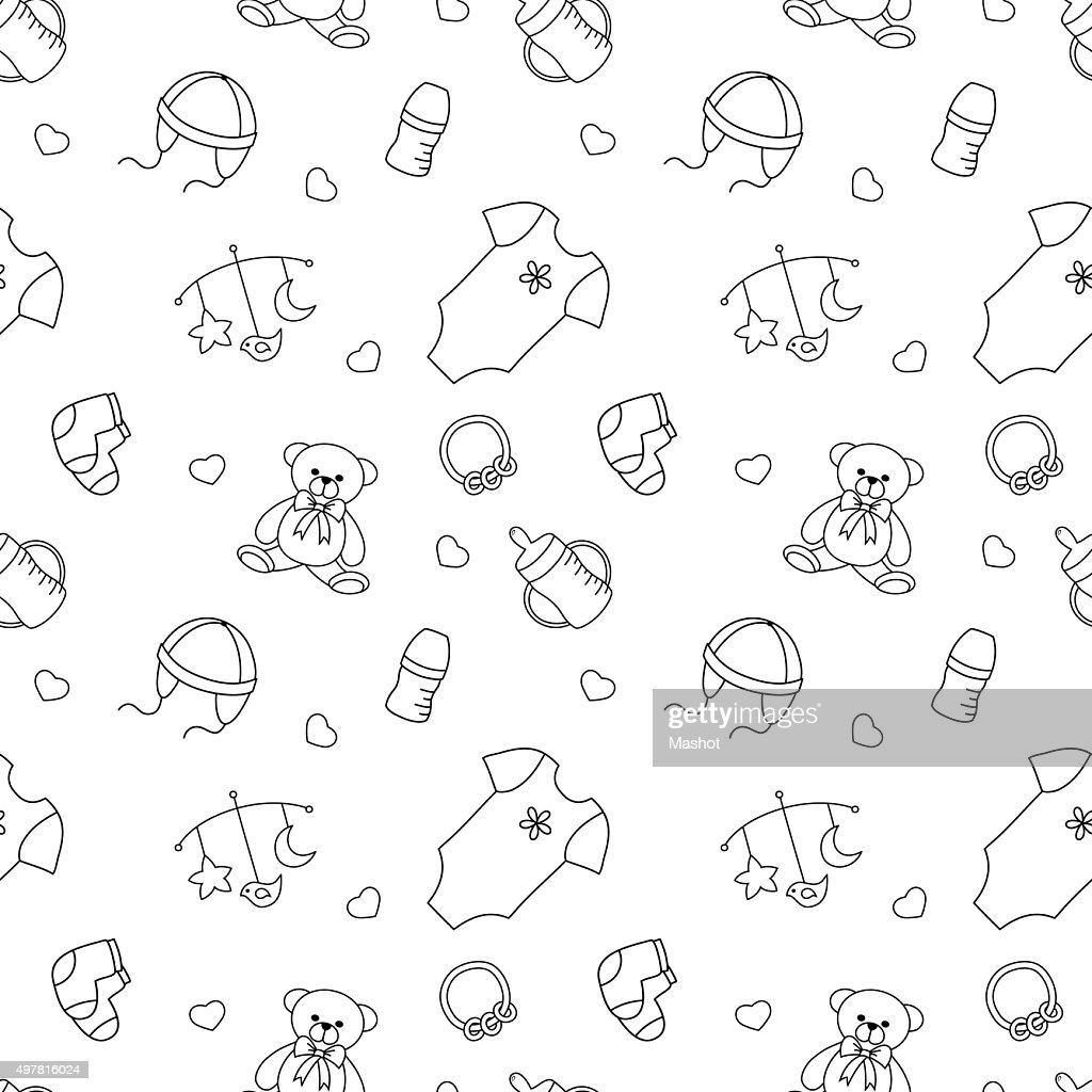 Monochrome baby seamless pattern