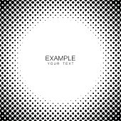 Monochrome circle frame halftone abstract background