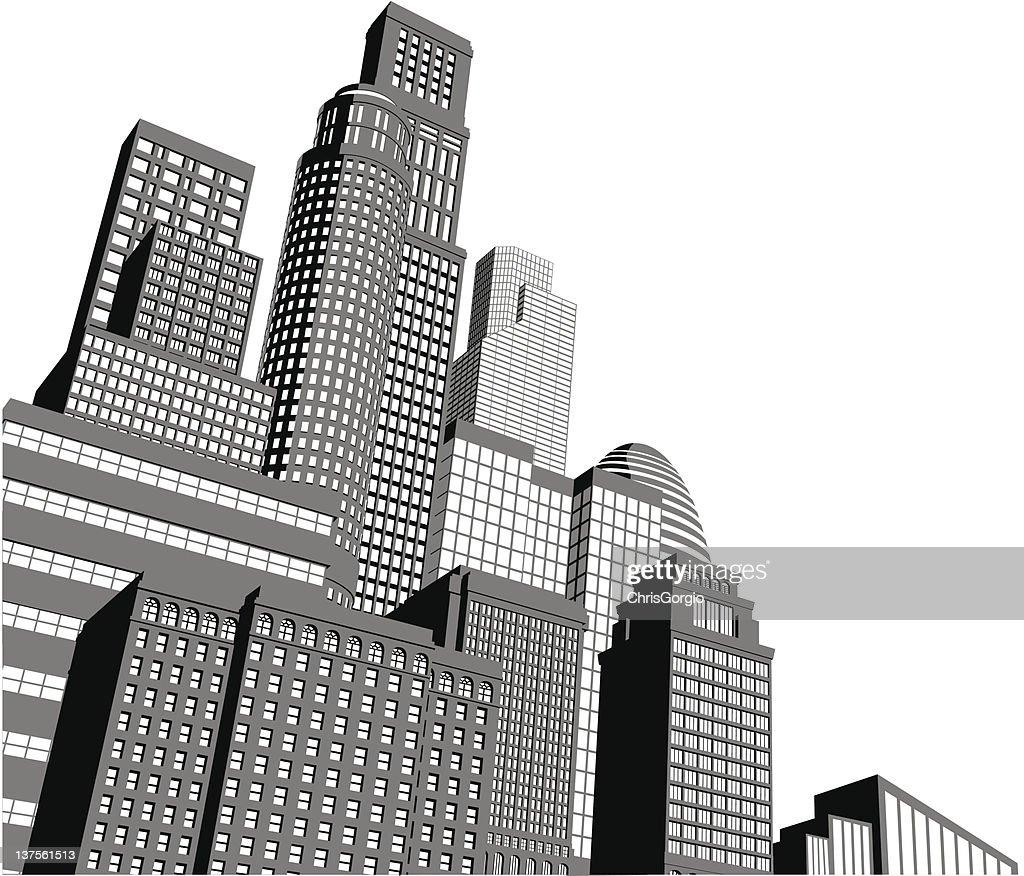 Monochrome city skyscrapers