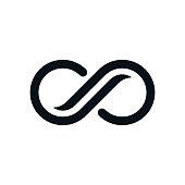 Monochrome curvy infinity symbol