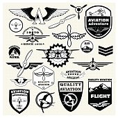 Monochrome  emblems, design elements , badges and logo Aviation