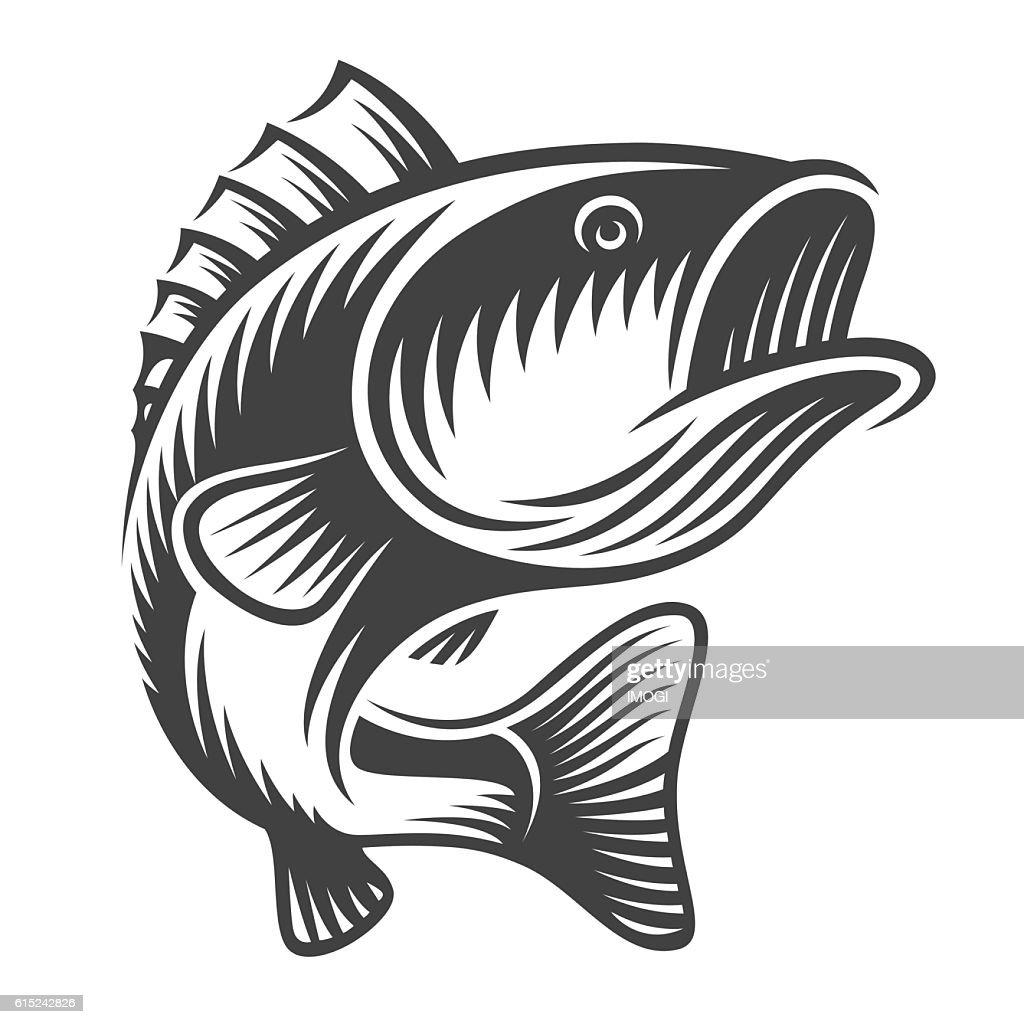 Monochrome fish bass logo