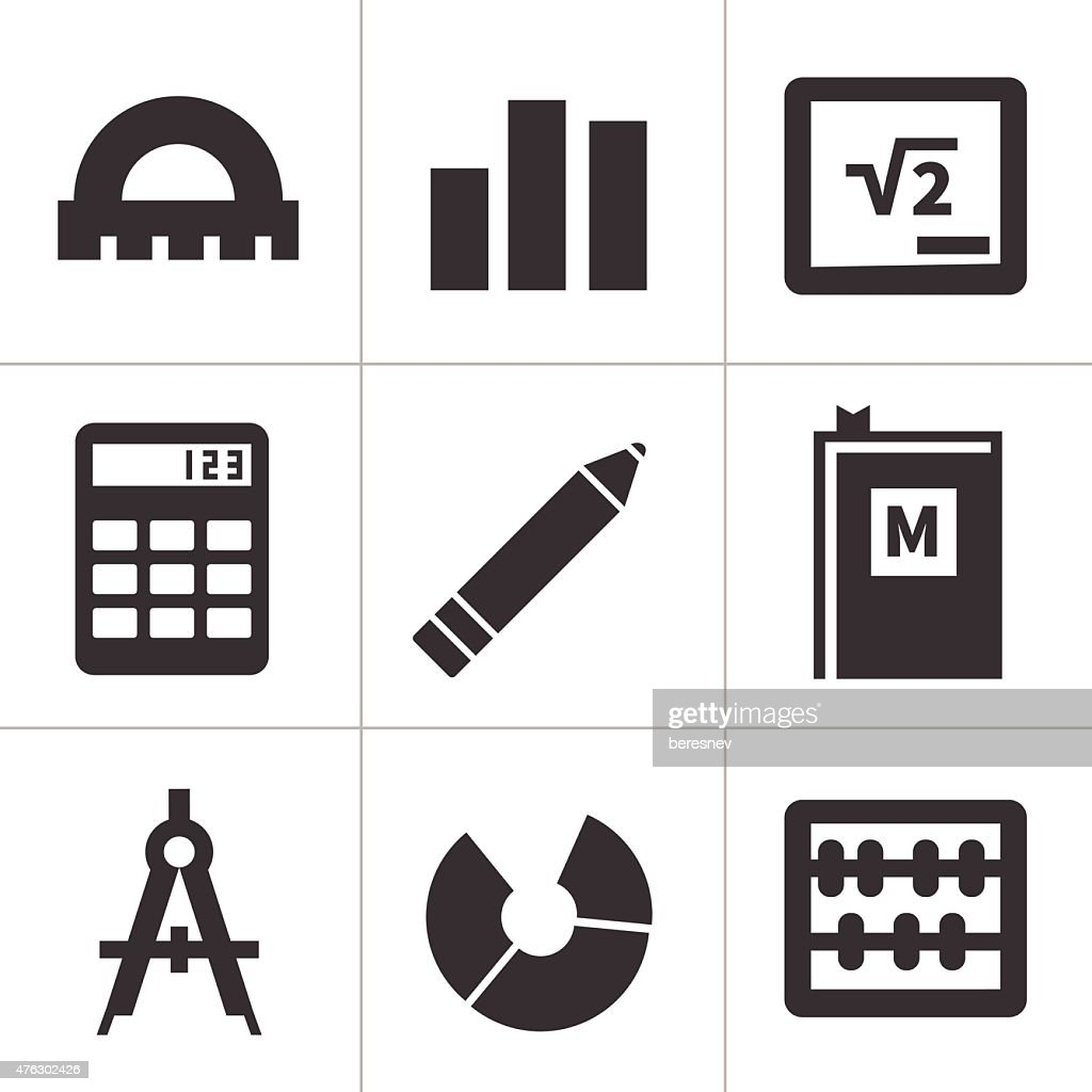 Monochrome flat maths icons