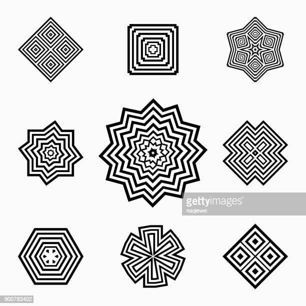 Monochrome Floral Pattern Symbol Collection