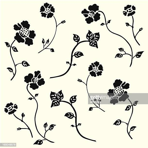 monochrome flower wallpaper 1 - plant stem stock illustrations, clip art, cartoons, & icons