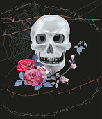 Monochrome gray skull, web, branches with spikes and red roses (bouquet, flowers, buds and leaves) on black background. Vector illustration, watercolor style. Concept for Halloween. Digital draw.