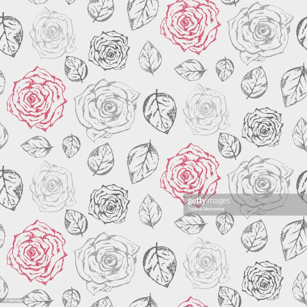 Monochrome hand drawn roses with leaves pattern