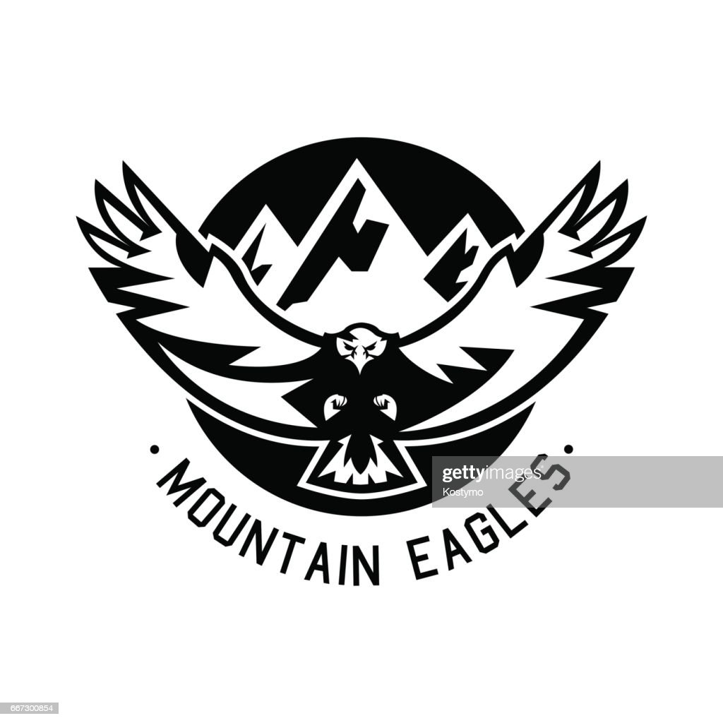 Monochrome icon, eagle flying in the mountains. Vector illustration.