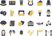 Monochrome icon set of theatre theme