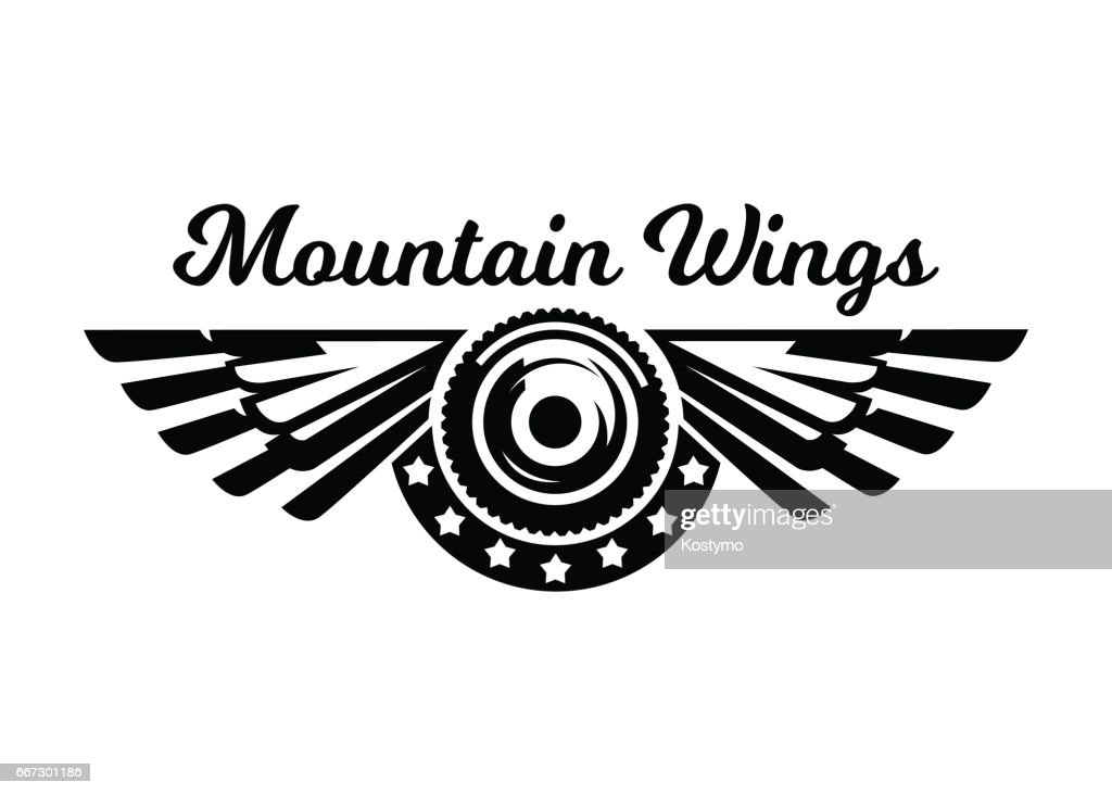 Monochrome icon, wheel and wings. Mountain biking, extreme sports. Vector illustration.