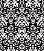 Monochrome illusory abstract geometric seamless pattern